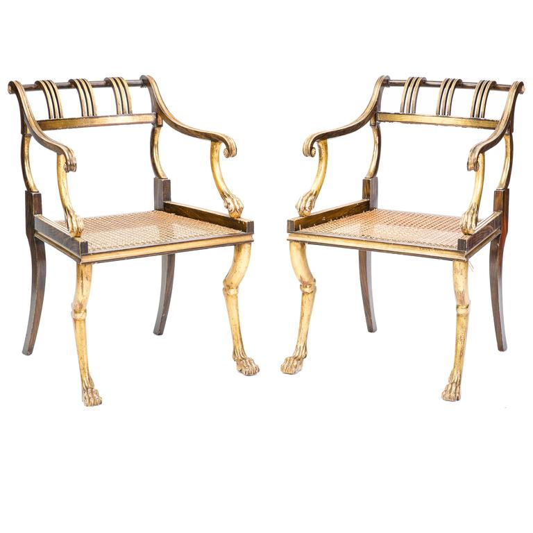 Pair Of Early 20th Century Regency Style Chairs 1
