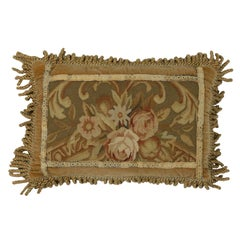 European Tapestry Pillow with French Passementerie and Antique Aubusson Style