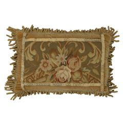 European Tapestry Pillow with French Passementerie and Antique Style