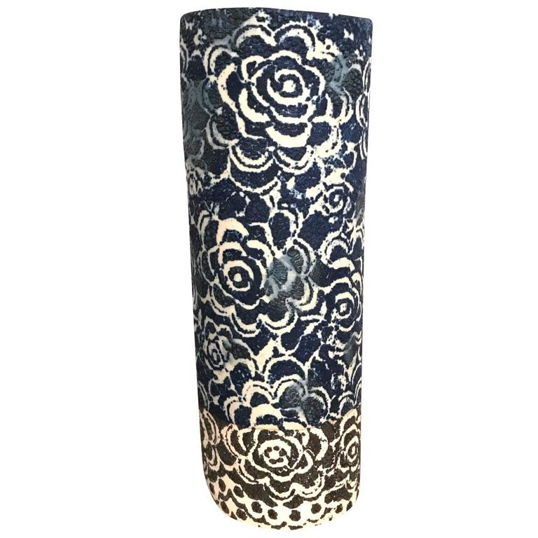 Vintage Inspired Design Indigo Vase, Thailand, Contemporary For Sale