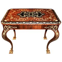 18th Century Italian Rosewood, Ebony, Etched Bone and Palisander Marquetry Table