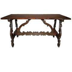 Handsome 17th Century Tuscan Walnut Trestle Table