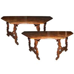 Pair of 17th Century Tuscan Walnut Lyre-Legged Trestle Console Tables