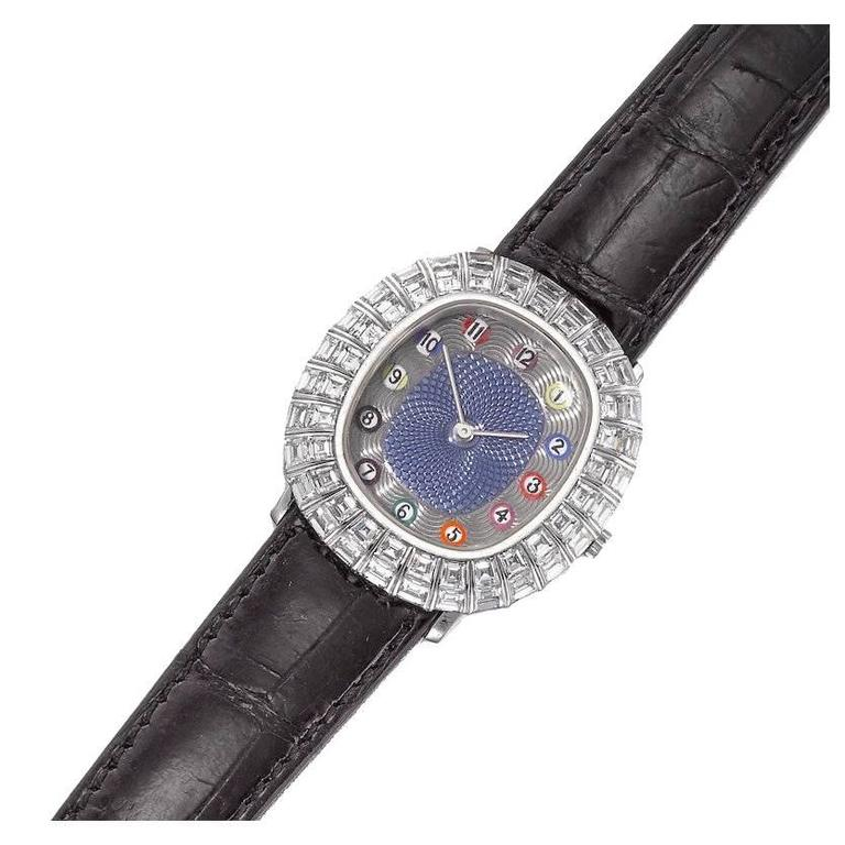 """Only Known Gold Diamond and Enamel """"Billiards"""" Wristwatch by Audemars Piguet For Sale"""