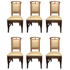 Set of Six Liberty Art Nouveau Wood Chairs Mobilificio Sello Udine Italy