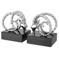 Calabra Bookends Set of Two in Nickel Finish and Granite