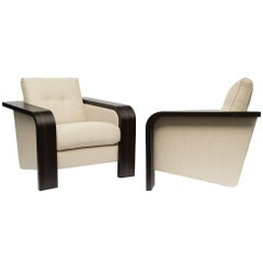 Pair of 1970s Style Cocktail Lounge Chairs, Upholstered in Dedar Fabric