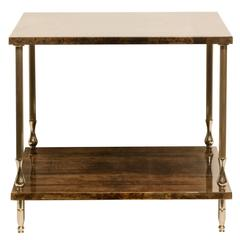 Aldo Tura Lacquered Parchment Two-Tiered Table