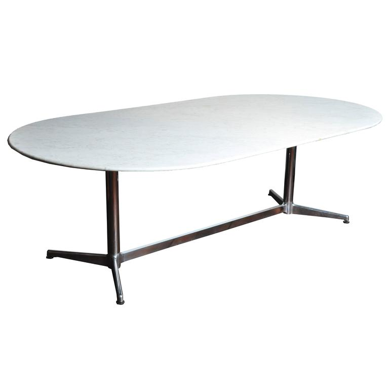 Mid Century Modern Marble Table: Mid-Century Modern Marble-Top Pedestal Dining Table For