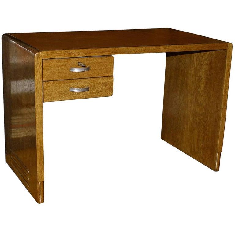 Jean Pascaud Oak Student Desk 1930 For Sale