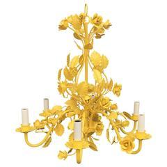 Mid-Century Yellow Metal Flower Chandelier