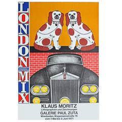 1970s Poster for Klaus Moritz London Mix Exhibition Pop Art