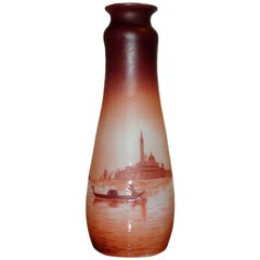 Collectors Item Art Nouveau D'Argental Cameo Glass Vase with Venice Landscape