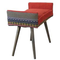Studio Series:  Backless Vanity Size Stool in Folklorica with Flame Red Seat