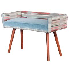 Studio Series: Vanity Size Stool in Gray Geometric with Ice Blue Seat