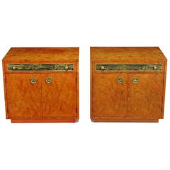 Rare Mastercraft Tangerine Burl Amboyna Nightstands with Acid Etch Detail