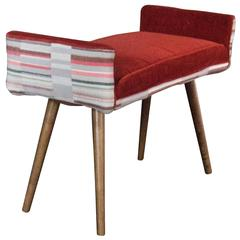 Studio Series: Backless Vanity Size Stool in Gray Geometric with Flame Red Seat