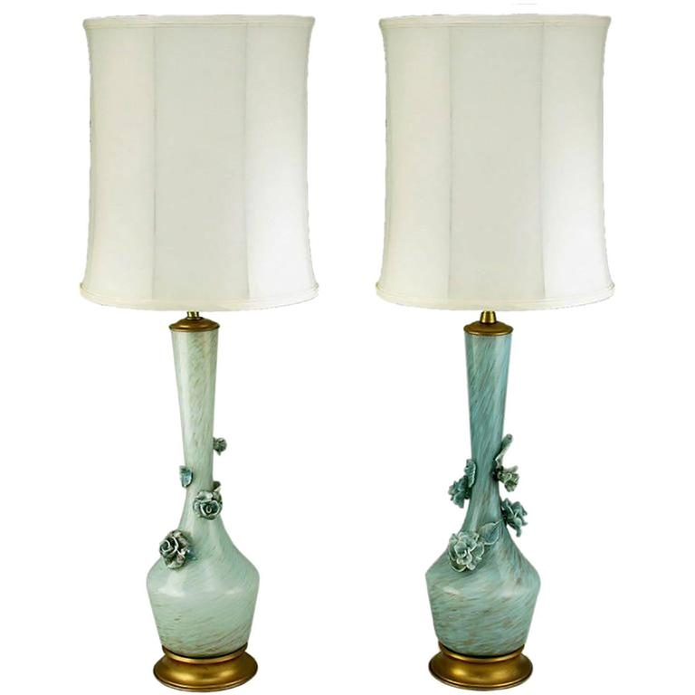 Pair of Marbro Blue Murano Glass Table Lamps with Rose Form Glass Appliques For Sale