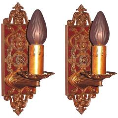 Pair of 1920s French Inspired Sconces in Original Finish