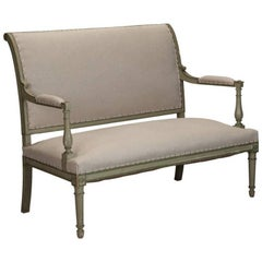 French Empire Style Painted Settee With Neutral Upholstery