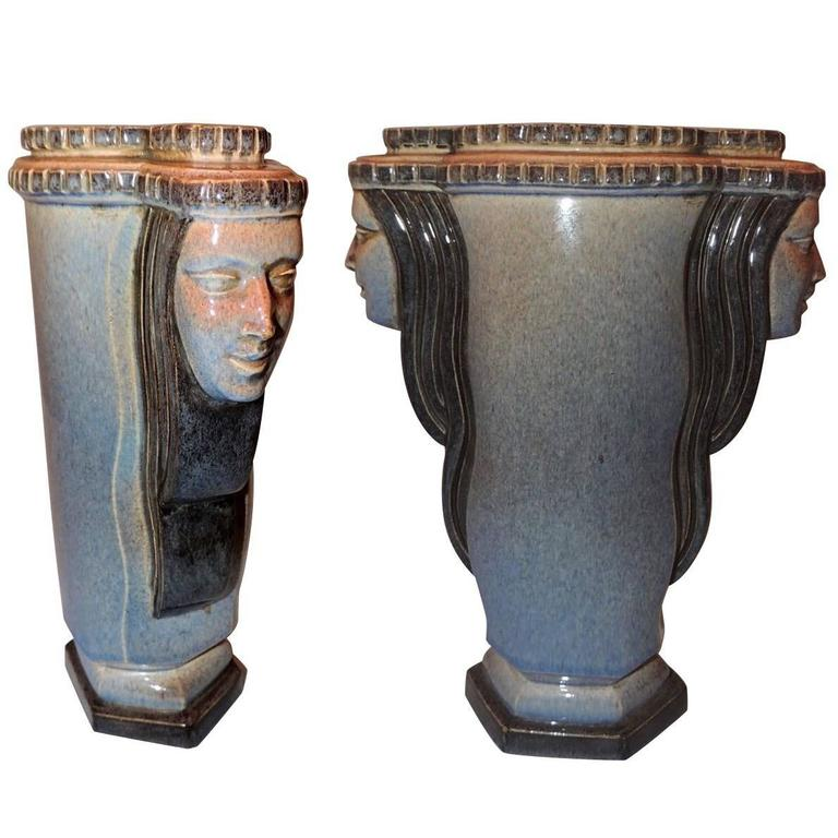 """Art Deco Vase """"Two Faced"""" by Guillard"""