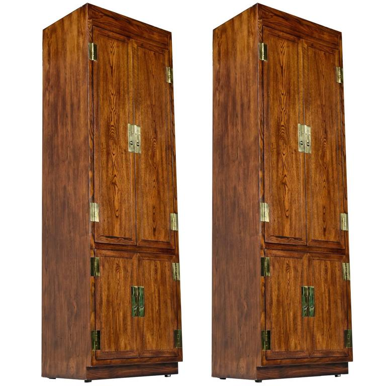 Campaign Style Henredon Pecan Armoire With Brass Pulls At