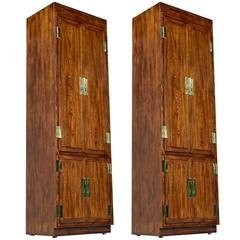 Campaign Style Henredon Pecan Armoire with Brass Pulls