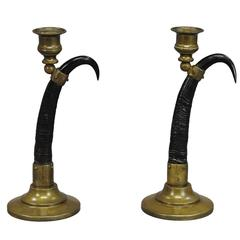 Pair of Black Forest Candlesticks with Real Chamois Horns, 19th Century