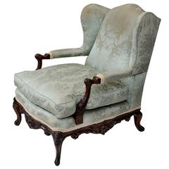 Large French Walnut Louis XV Style Bergere Library Armchair, circa 1880