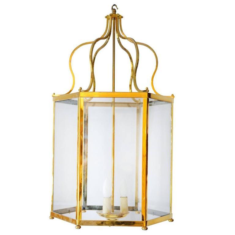 Large 18th Century Georgian Style Brass Frame Lantern, circa 1920 For Sale