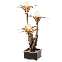 Palm Flowers Table Lamp in Vintage Brass