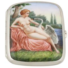 Antique Austro-Hungarian Silver and Erotica Enamel Cigarette Case