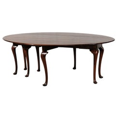 Large 20th Century Queen Anne Style Gateleg Dining Table