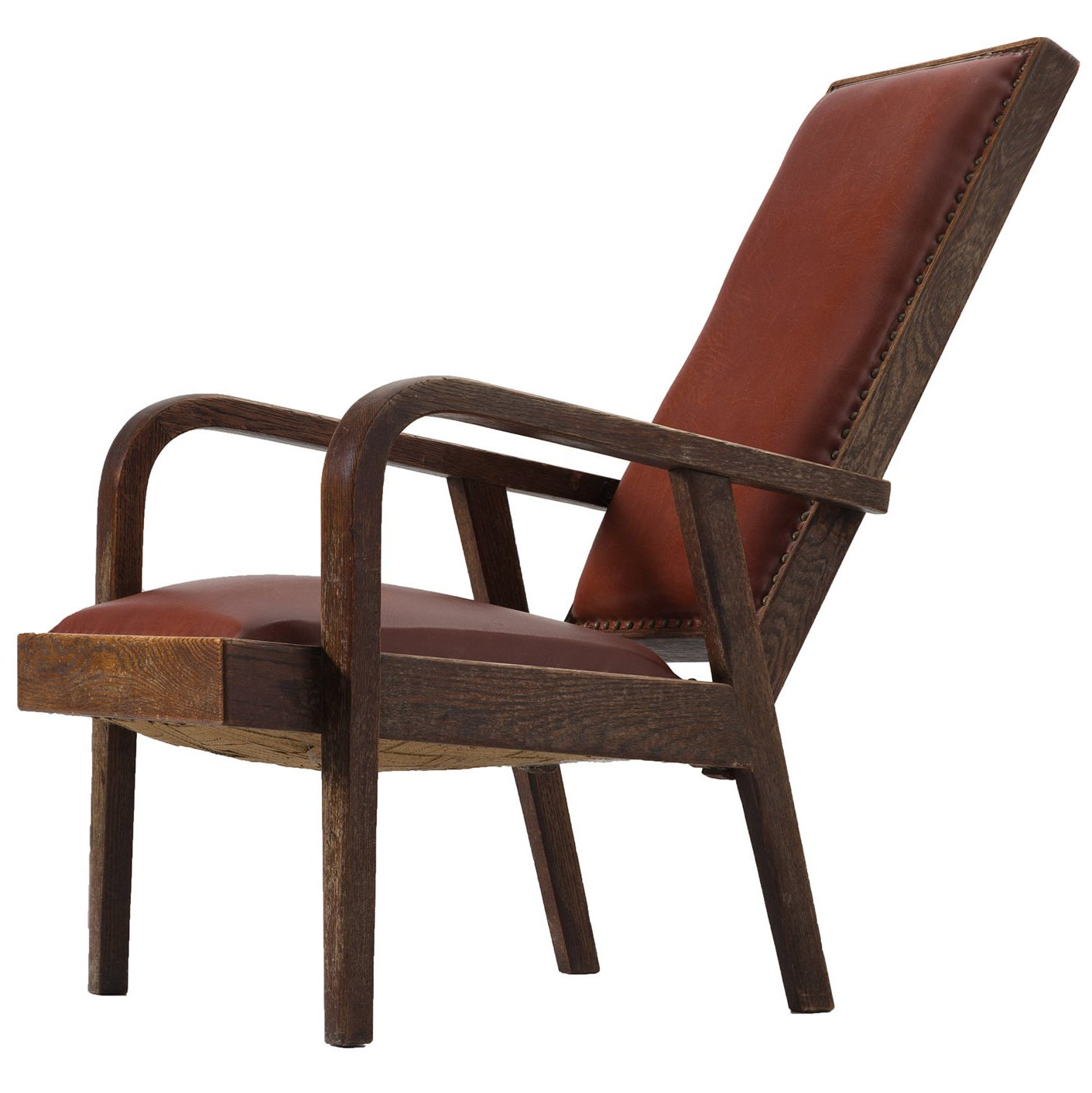 Adjustable Armchair in Red Leather and Oak