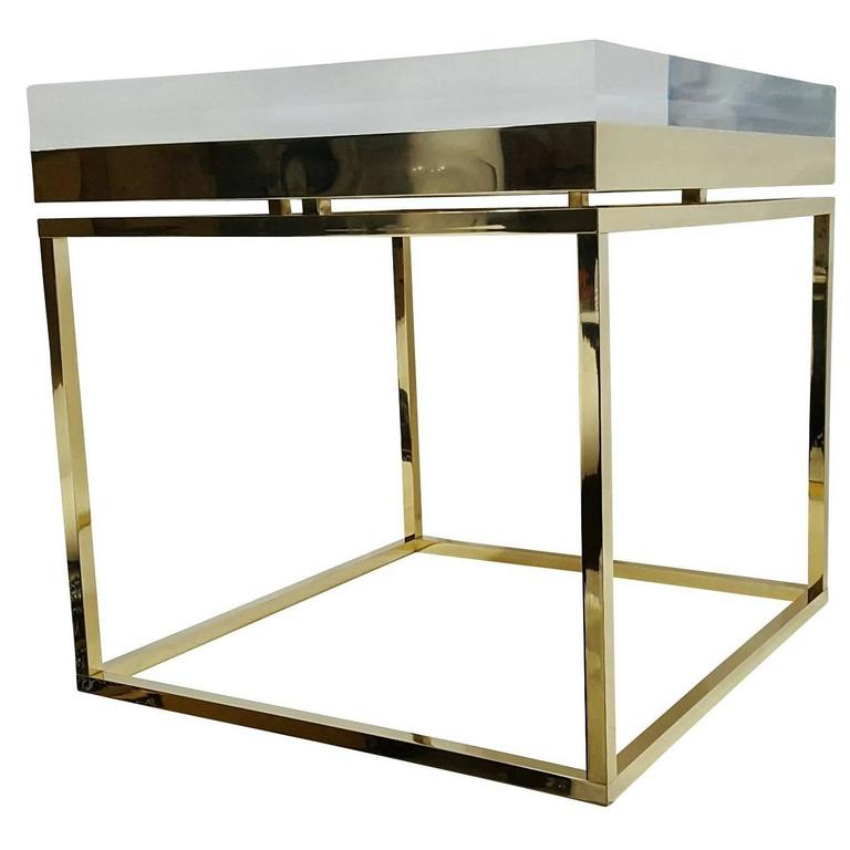 Mies Side Table - XL in Brass By Michael Dawkins