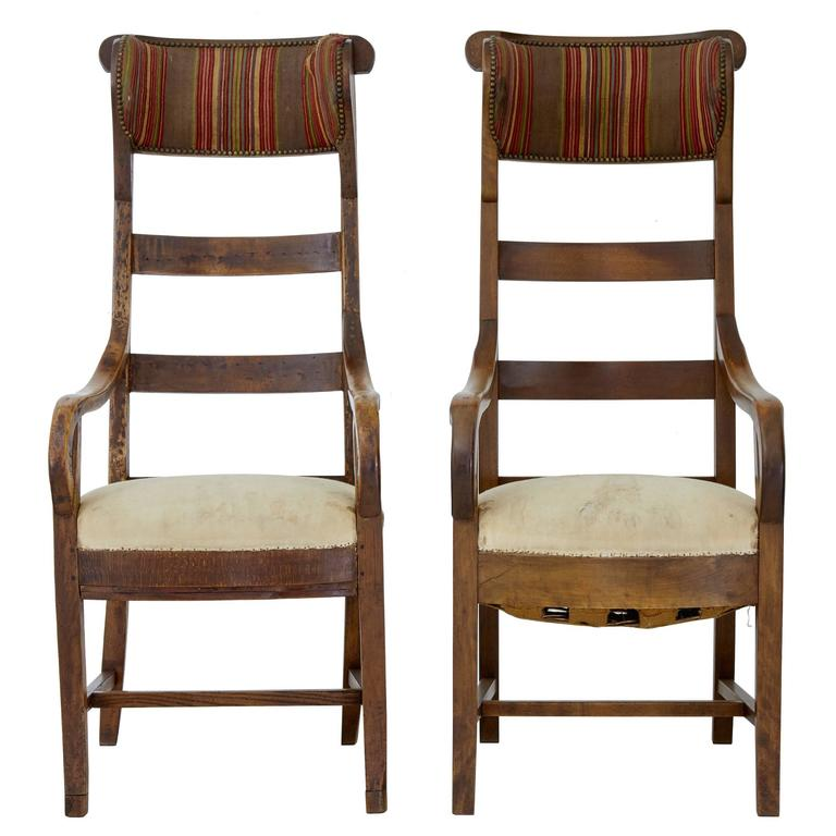 Unusual Pair Of 19th Century Fruitwood High Back Armchairs For Sale