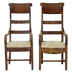 Unusual Pair of 19th Century Fruitwood High Back Armchairs