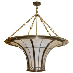 English Large Leaded Glass Light Fixture
