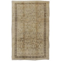 Unique Turkish Oushak with Overall Design in Cream, gray and Brown Highlights