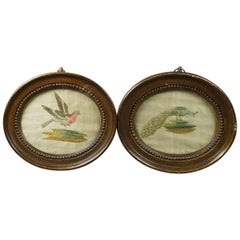 18th Century English Bird Pair of Miniature Silk Work Embroidery Oval Frames