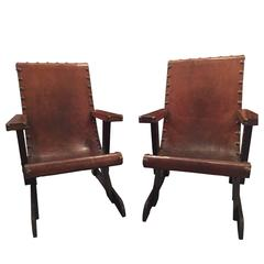 Pair of Leather Chairs, France, Mid-Century