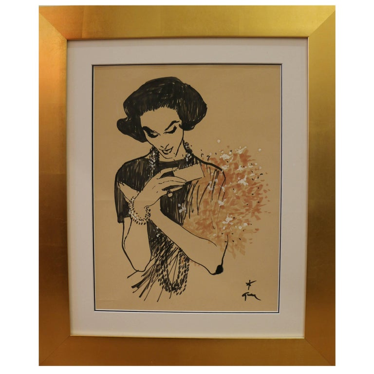 Drawing of a Lady Receiving a Bunch of Flowers by René Gruau, circa 1957 For Sale