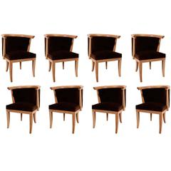 Eight Oak and Velvet Barrel Chairs by Romwebber