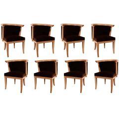 Eight Oak and Velvet Barrel Chairs by Romwebber