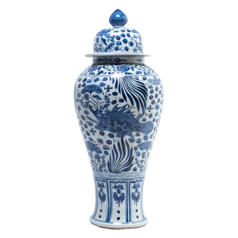 Chinese Blue and White Ginger Jar with Fish and Fronds