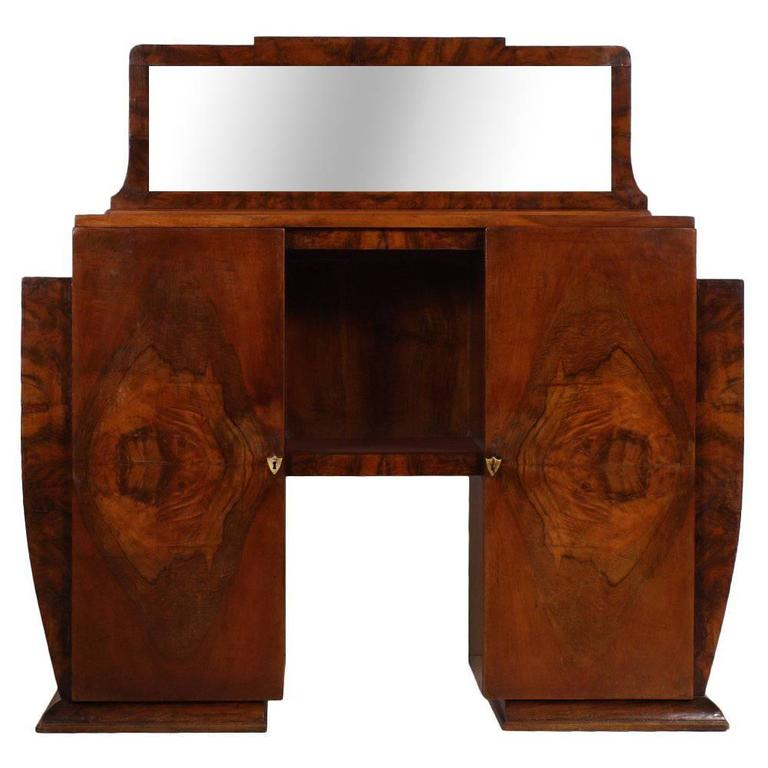 1930s Art Deco Italian credenza by Gaetano Borsani mirrored Cabinet,Burl Walnut For Sale