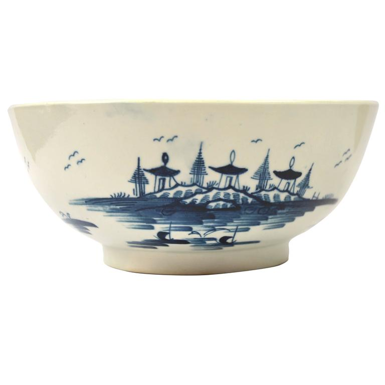 Large First Period Worcester Punch Bowl, in the Precipice Pattern