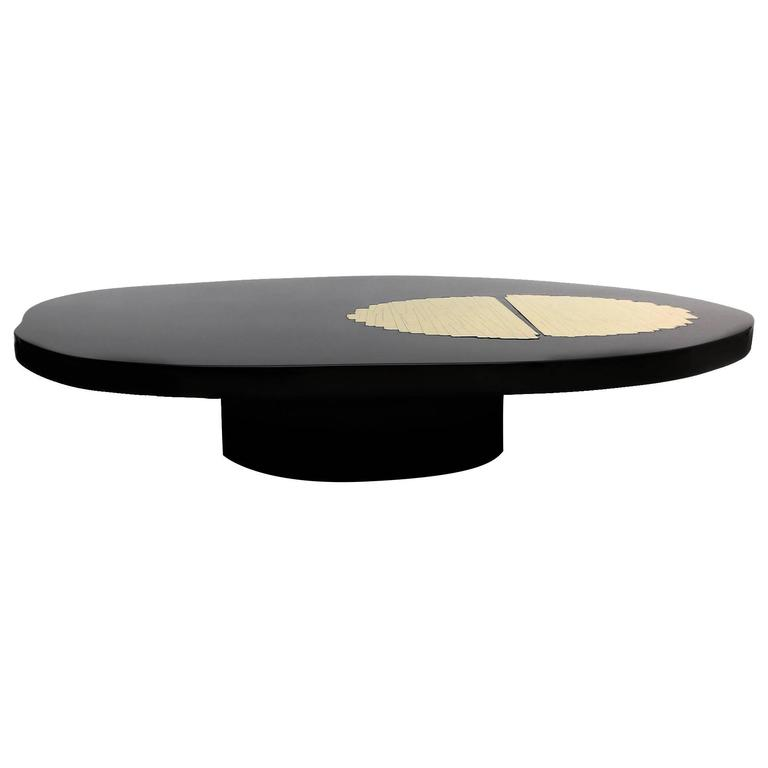 Black lacquered and brass high end coffee table at 1stdibs for High end coffee table