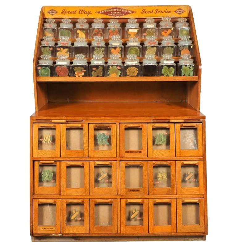J.D. Warren Oak Seed Cabinet at 1stdibs