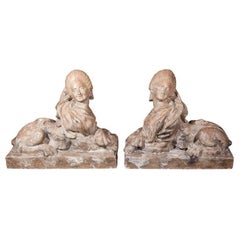 Pair of Terra Cotta Sphinxes